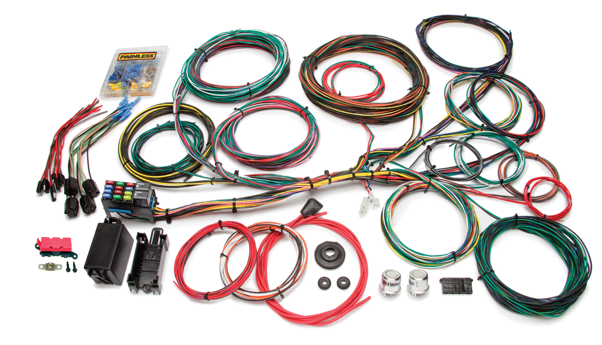 21 circuit customizable ford color coded chassis harness painless 18 Circuit Universal Wiring Harness