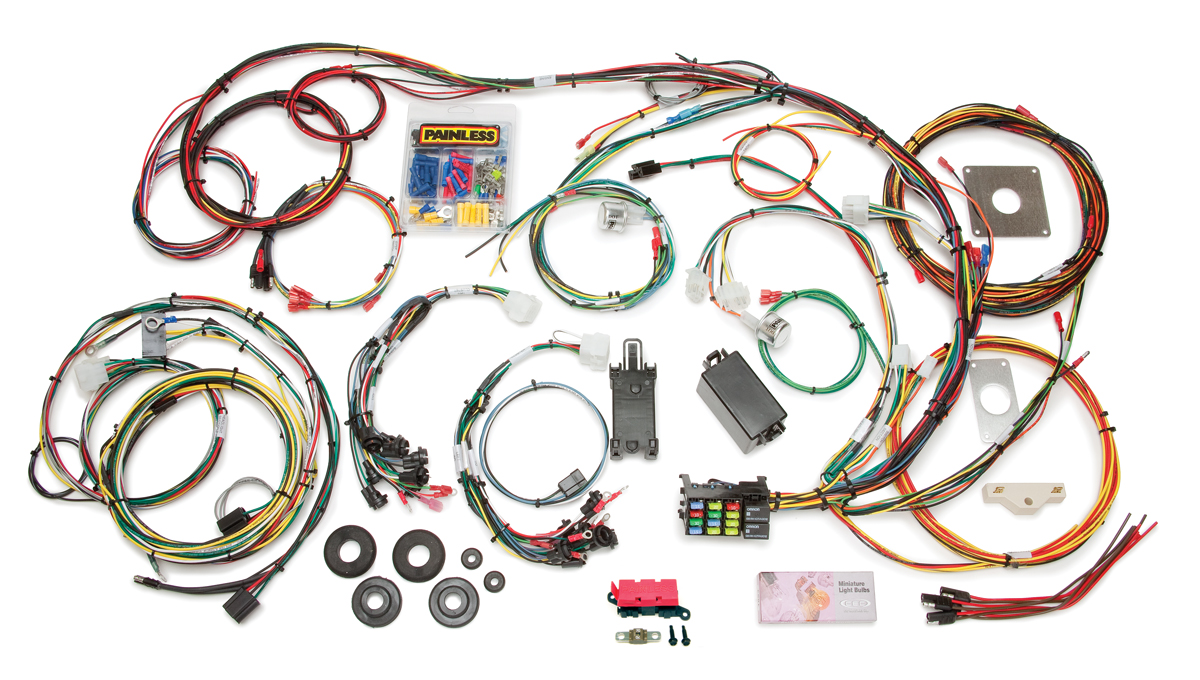 22 circuit direct fit 1965 66 mustang chassis harness painless rh painlessperformance com painless wiring harness 1967 mustang painless wiring harness 1969 mustang