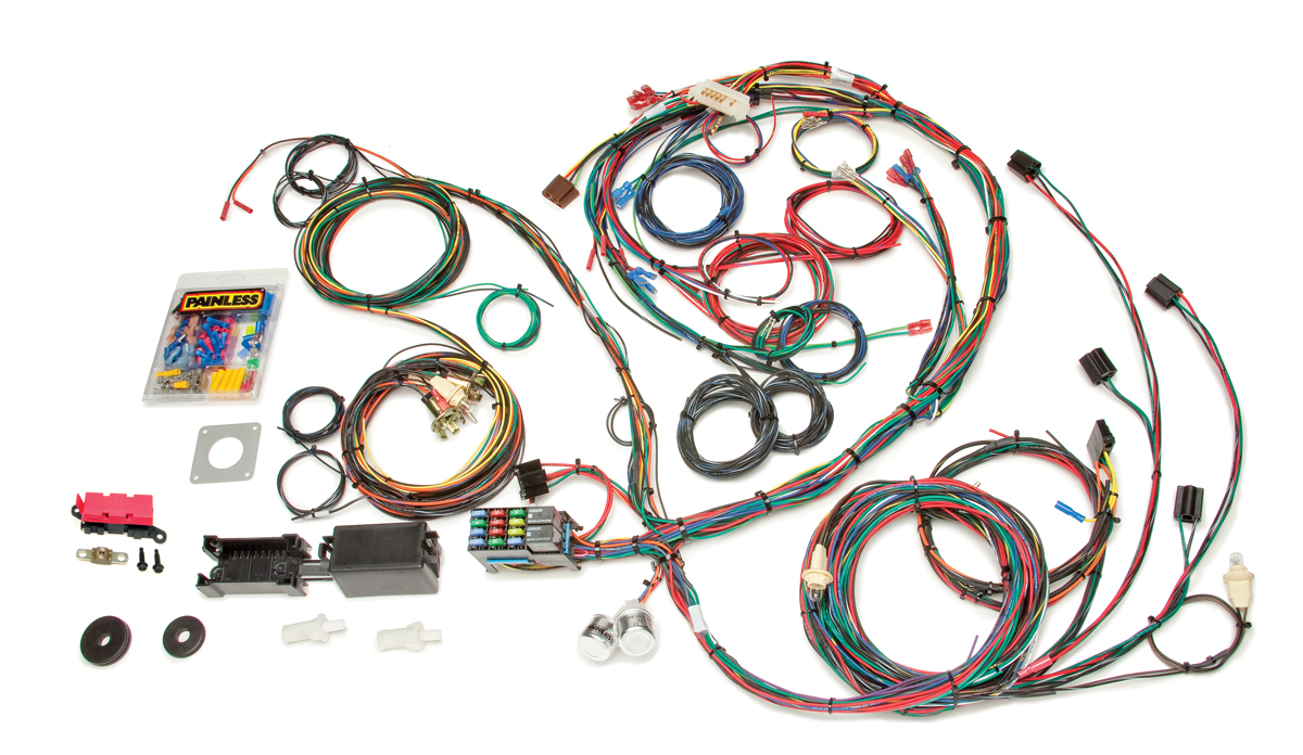 22 circuit direct fit 1969 70 mustang chassis harness painless rh painlessperformance com painless wiring harness 1967 mustang painless wiring harness fox mustang