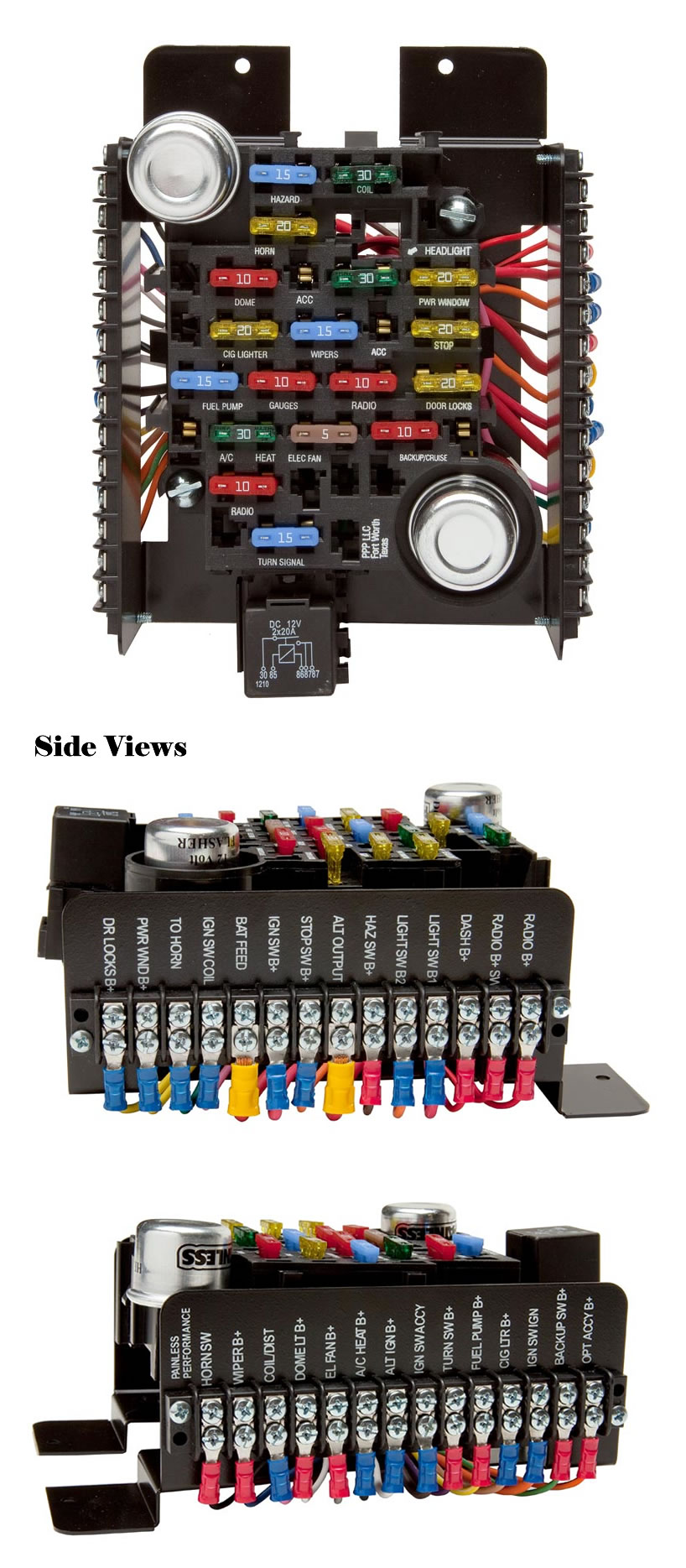 universal style pre-wired 20 circuit fuse block by painless performance