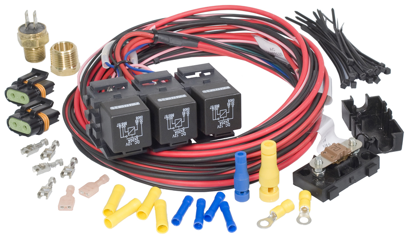 Dual Fan-Dual Activation Fan Relay Kit (195 degrees F On/185 degrees F Off) By Painless Performance
