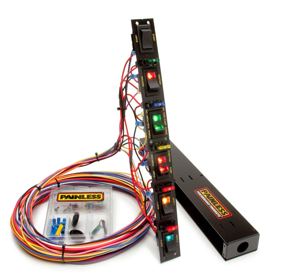 fused dragster vertical 6 switch panel w/wiring & hardware by painless  performance