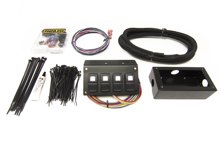Track Rocker - 4 Switch Panel - Flange / Under Dash Mount By Painless Performance